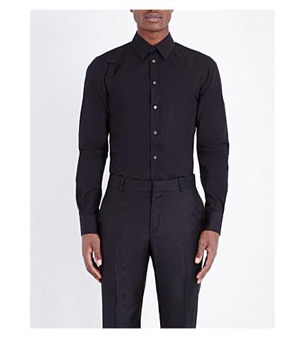 ALEXANDER MCQUEEN 修身版型弹力棉衬衫 (黑色