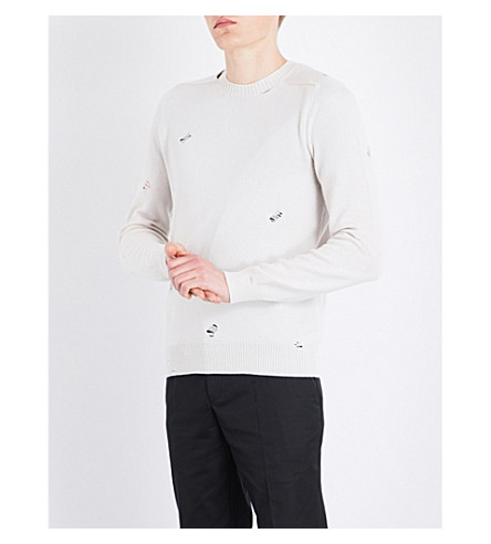 ALEXANDER MCQUEEN Distressed knitted cashmere jumper (Ivory