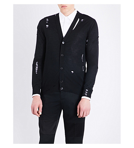 ALEXANDER MCQUEEN Laddered wool and silk-blend cardigan (Black