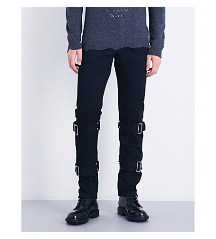 ALEXANDER MCQUEEN Strap-detail slim-fit tapered jeans (Black