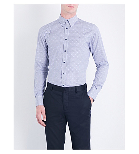 ALEXANDER MCQUEEN Harness Stripe & Skull cotton-poplin shirt (White/blue