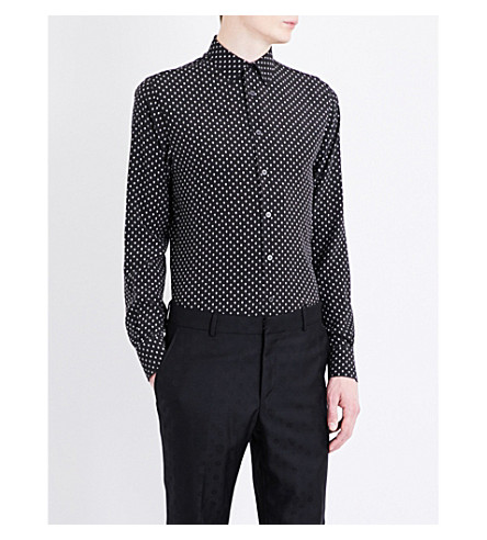 ALEXANDER MCQUEEN Regular-fit skull-print silk shirt (Black/white