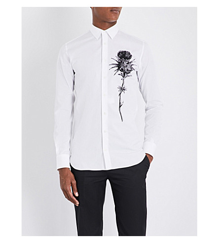 ALEXANDER MCQUEEN Thistle-printed regular-fit cotton shirt (White/black
