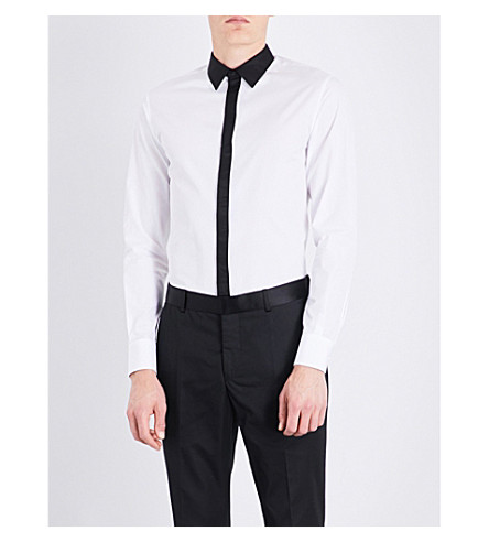 ALEXANDER MCQUEEN Contrast-collar slim-fit cotton shirt (White