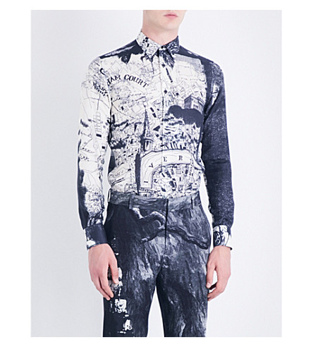 ALEXANDER MCQUEEN London Map cotton and silk-blend shirt (White/black