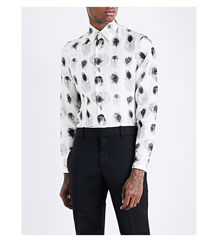 ALEXANDER MCQUEEN Peacock-print regular-fit silk-twill shirt (Ivory+black