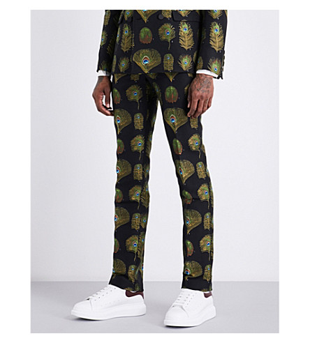 ALEXANDER MCQUEEN Peacock regular-fit jacquard cotton-blend trousers (Mix