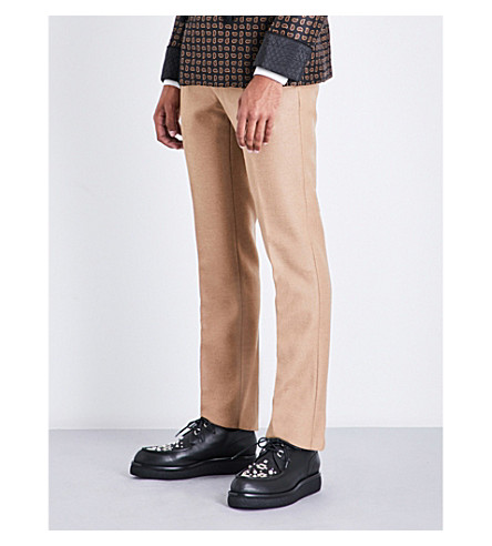 ALEXANDER MCQUEEN Regular-fit straight camel-hair trousers (Camel