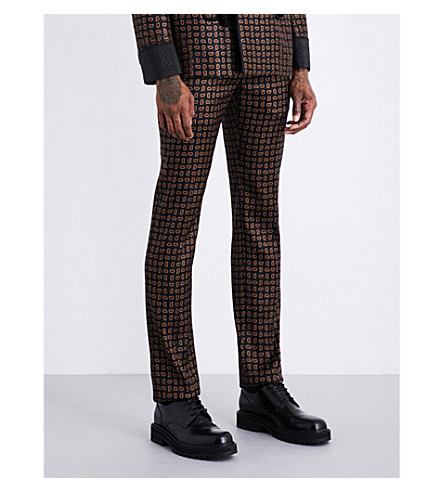 ALEXANDER MCQUEEN Paisley-patterned regular-fit wool and silk-blend trousers (Navy+beige+red