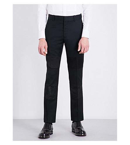ALEXANDER MCQUEEN Silk panel regular-fit mid-rise mohair trousers (Black