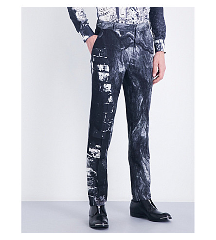 ALEXANDER MCQUEEN Raven printed straight wool-blend trousers (White/black