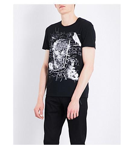 ALEXANDER MCQUEEN Skull map-print cotton-jersey T-shirt (Black/ivory