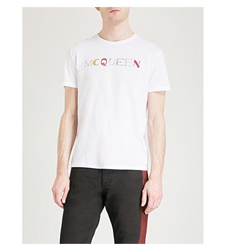 ALEXANDER MCQUEEN Multi logo-print cotton-jersey T-shirt (White+mix
