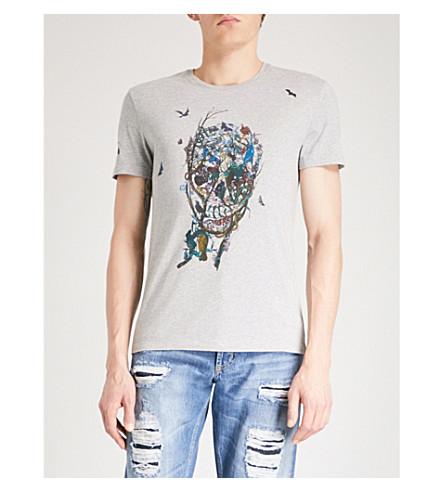 ALEXANDER MCQUEEN Garden Skull cotton-jersey T-shirt (Pale+grey+mix