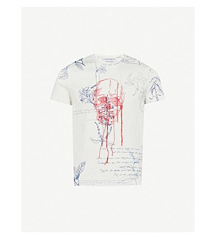 ALEXANDER MCQUEEN Explorer embroidered cotton-jersey T-shirt (White+mix
