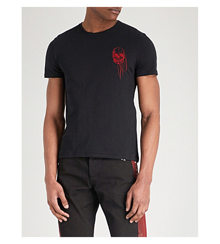 ALEXANDER MCQUEEN Skull embroidered cotton-jersey T-shirt (Black+mix