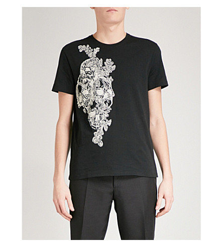 ALEXANDER MCQUEEN Skull-embroidered cotton-jersey T-shirt (Black+mix
