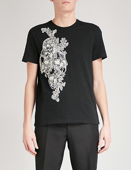 ALEXANDER MCQUEEN Skull-embroidered cotton-jersey T-shirt