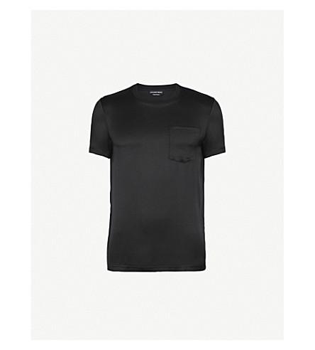 ALEXANDER MCQUEEN Patch-pocket silk T-shirt (Black
