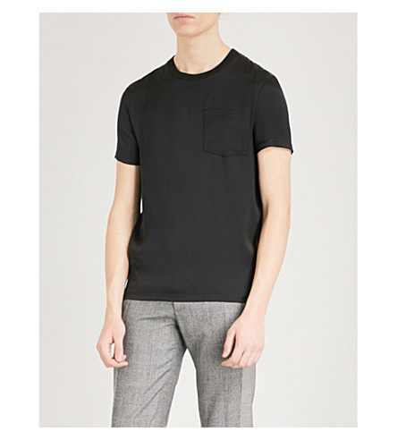 ALEXANDER MCQUEEN Patch-pocket silk T-shirt (Black