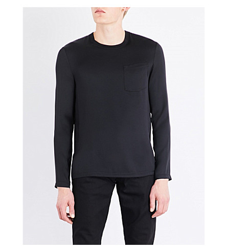 ALEXANDER MCQUEEN Patch-pocket silk top (Black