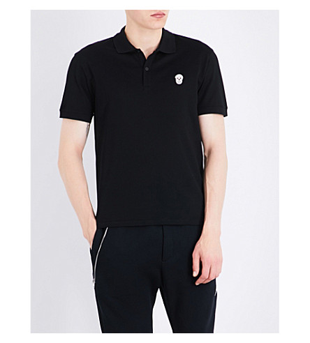 ALEXANDER MCQUEEN Skull-embroidered cotton-piqué polo shirt (Black