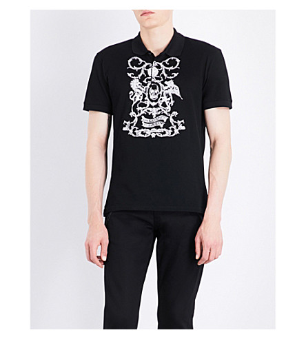 ALEXANDER MCQUEEN Floral skull-embroidered cotton-piqué polo shirt (Black