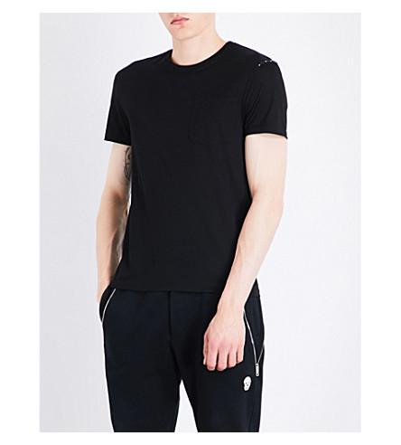 ALEXANDER MCQUEEN Skull-print trimmed cotton-jersey T-shirt (Black