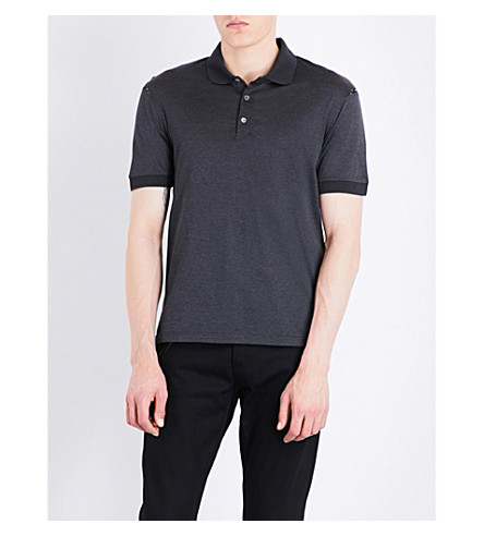ALEXANDER MCQUEEN Skull-print trimmed cotton polo shirt (Charcoal