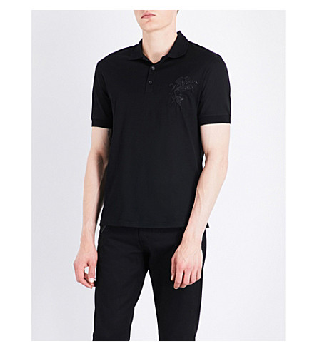 ALEXANDER MCQUEEN Stallion-embroidered cotton polo shirt (Black