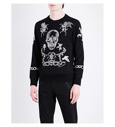ALEXANDER MCQUEEN Skull-embroidered cotton-jersey sweatshirt (Black+white