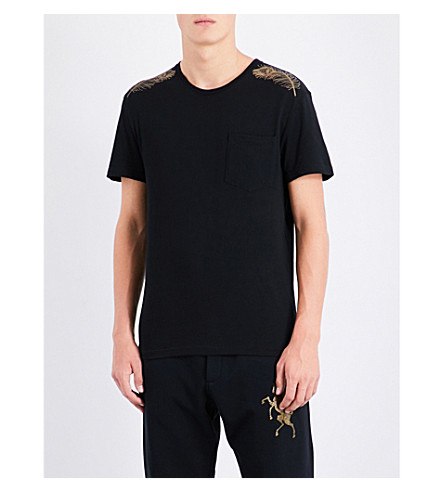 ALEXANDER MCQUEEN Feather-print cotton-jersey T-shirt (Black+gold