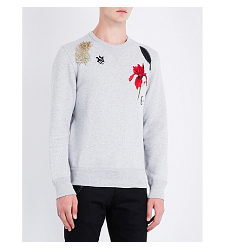 ALEXANDER MCQUEEN Embroidered-detail cotton-jersey sweatshirt (Pale+grey