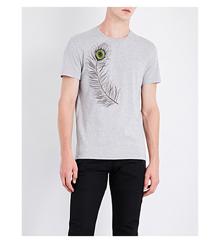 ALEXANDER MCQUEEN Feather-embroidered cotton-jersey T-shirt (Pale+grey