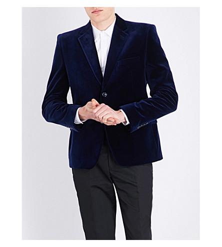 ALEXANDER MCQUEEN Single-breasted slim-fit velvet jacket (Blue