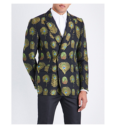 ALEXANDER MCQUEEN Regular-fit peacock jacquard jacket (Mix
