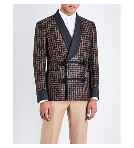 ALEXANDER MCQUEEN Paisley-patterned wool jacket (Navy+beige+red