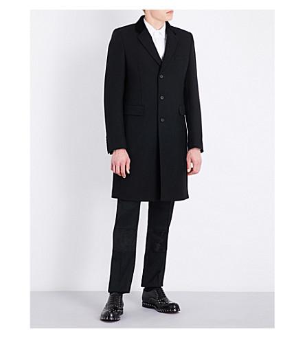 ALEXANDER MCQUEEN Velvet-trimmed wool and silk-blend coat (Black