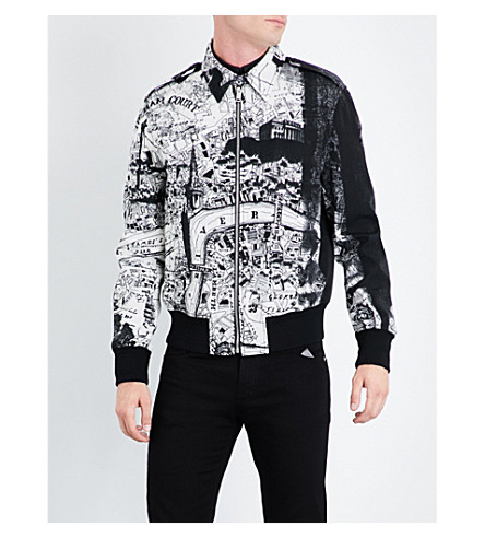 ALEXANDER MCQUEEN Map-print wool-blend bomber jacket (White/black
