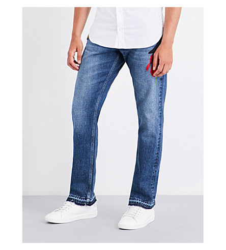 ALEXANDER MCQUEEN Embroidered-detail regular-fit straight jeans (Blue+stonewashed