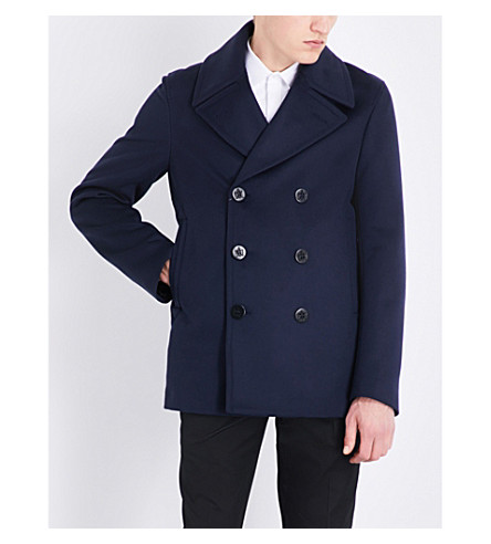 ALEXANDER MCQUEEN Double-breasted wool and cashmere-blend peacoat (Navy