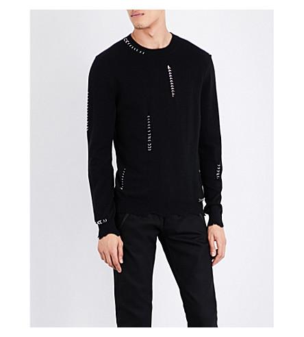 ALEXANDER MCQUEEN Eyelet wool and cashmere-blend jumper (Black