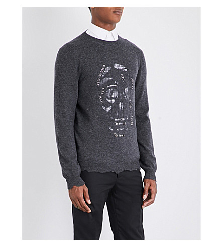 ALEXANDER MCQUEEN Laddered skull wool and cashmere-blend jumper (Charcoal+grey