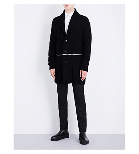 ALEXANDER MCQUEEN Zip-detail wool-blend cardigan (Black