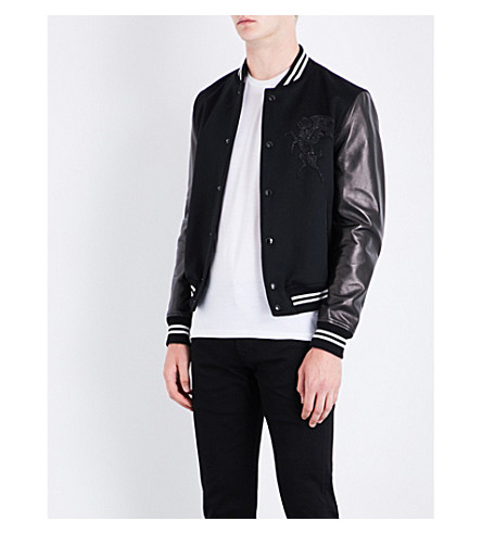 ALEXANDER MCQUEEN Cashmere-blend and leather bomber jacket (Black/ivory