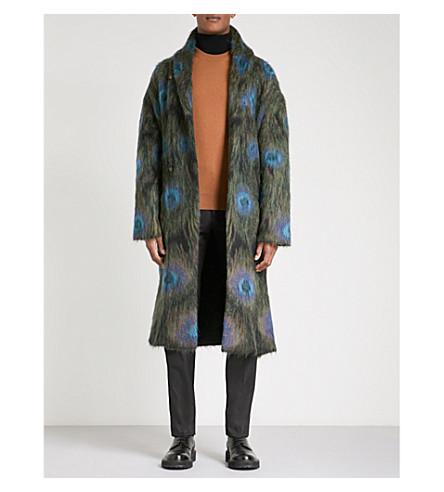 ALEXANDER MCQUEEN Peacock mohair-blend coat (Green+blue+black