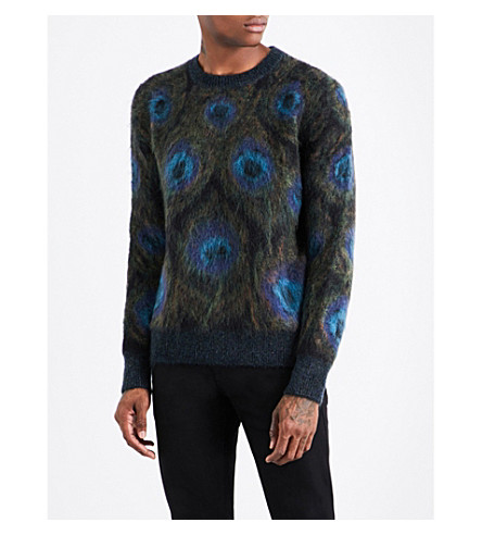 ALEXANDER MCQUEEN Peacock mohair-blend jumper (Green+blue+black