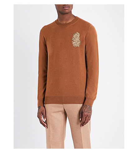 ALEXANDER MCQUEEN Feather-embellished wool-blend jumper (Camel+gold