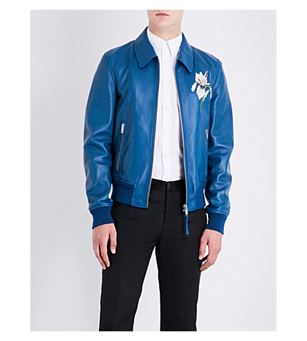 ALEXANDER MCQUEEN Iris-embroidered leather bomber jacket (Blue+white