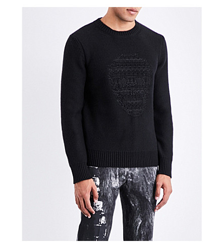 ALEXANDER MCQUEEN Skull-intarsia wool and cashmere-blend jumper (Black+shiny+black